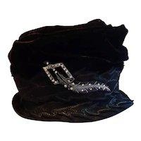 Cloche Bucket Hat, Circa 1920's W/ Celluloid Brooch