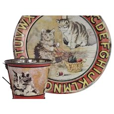 Antique Tin Lithograph  ABC Cat Plate & Cup By Ohio Art