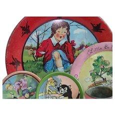 Ten Pieces Ohio Art Tin Litho Dishes , Includes Walt Disney Pinocchio C & S