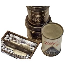 Vintage Miniature Tin Litho Canisters & Toys
