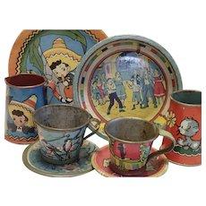 Vintage Tin Litho Toy Dishes , 8 Pieces , Some Ohio Art