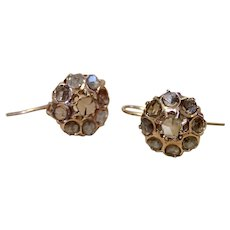 Earrings , Antique Table-Cut Diamond Clusters & 14K