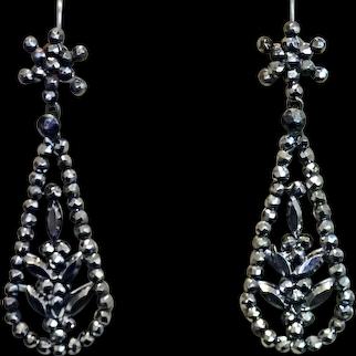 Georgian Cut Steel Drop-Style Earrings