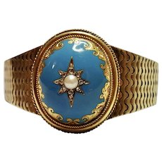 Victorian Bracelet , 14K , Enamel , Rose-Cut Diamonds & Natural Split Pearl