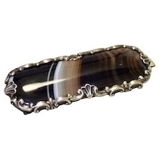 Antique Banded Agate Brooch In Sterling