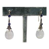 Antique Rock Crystal Earrings W/ Sapphires & Diamonds In 14K
