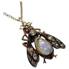 Antique Fly Pendant In 18K W/ Opal,  Diamonds & Rubies & 14K Chain