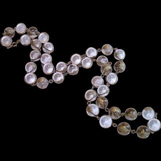 Antique Pools Of Light Necklace W/ Silver Floral Wraps