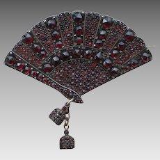 Antique Czech Garnet Brooch; Fan Motif