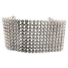 """Sterling Silver 12.30 carat CZ 10 Raw Bracelet 1-5/8"""" Wide 7"""" Long 85.7 grams"""