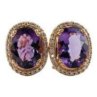 Diamond Amethyst Earrings 18K Rose Gold Omega Locks
