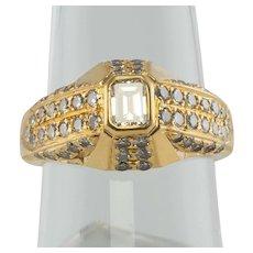 Diamond Ring 18K Gold Band Vintage Geometric .77 TDW Engagement
