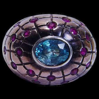 Estate Jewelry Huge 15.9gr Topaz Ruby 14K Rose Gold Cocktail Ring