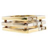 Modern Diamond Ring 14K Gold Geometric Square Vintage