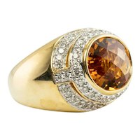 Diamond Citrine Ring 18K Gold Band Vintage by Kristina