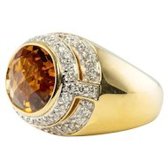 $3780 Designer Kristina 18K Gold Citrine Diamond Ring LAYAWAY is available