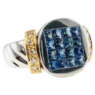 Diamond Sapphire Ring 18K White Gold Band Vintage