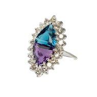 Estate Jewelry Amethyst Topaz Diamond 14K White Gold Ring Unusual Selection
