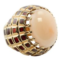 Enamel Angel Skin Pink Coral Ring 18K Gold Cocktail