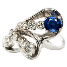 Diamond Sapphire Ring 14K White Gold Vintage Estate