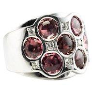 Diamond Pink Tourmaline Ring 18K White Gold Band