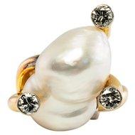 Diamond Baroque Pearl Ring 14K Gold Large Vintage