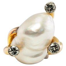 Huge Baroque Pearl Diamond Ring 14K Yellow Gold