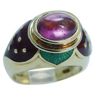 Designer Jewelry Mavito 18K Gold Rubellite Tourmaline Enamel Strawberry Ring