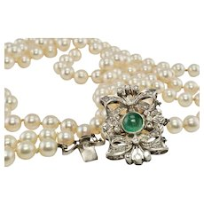 "Pearl Necklace Three Strands Emerald Diamond Clasp 18"" 18K Gold"
