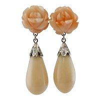 Pink Coral Diamond Rose Flower Earrings 18K White Gold