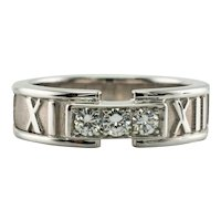 Tiffany and Co Diamond Ring Atlas 18K White Gold Band Size 7 Vintage