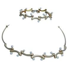 Akiyo Matsuoka Pearl Necklace Bracelet Set Art to Wear 18K Yellow Gold