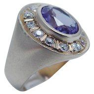 Vintage Jewelry 14K Yellow Gold Old Miner cut Diamonds Amethyst Ring