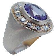 Diamond Amethyst Ring 14K Gold Band Vintage Estate