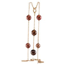 Diamond Tahitian Pearl Necklace 18K Pink Gold