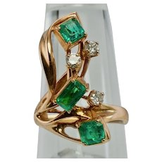Diamond Colombian Emerald Ring 14K Rose & Pink Gold