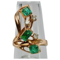 Colombian Emerald Diamond Ring Apco 14K Rose Pink Gold Appraisal $3250