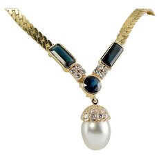 Uno A Erre Blue Sapphire Cultured Pearl Diamond Necklace 14K Yellow Gold Made in Italy