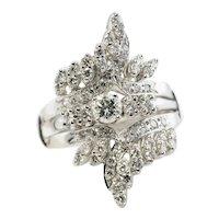 Diamond Ring Bridal Set 14K White Gold Flower Vintage 1.15 DTW