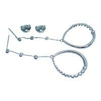 Diamond Earrings 14K White Gold Dangle Drop .75 TDW