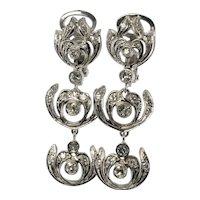 Diamond Earrings 18K White Gold Dangle Drop Vintage