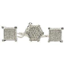Diamond Earrings Necklace Pendant Set 14K White Gold
