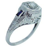 Vintage Jewelry 18K Gold .35ct Diamond Sapphire Etching Ring
