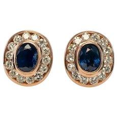 Diamond Sapphire Earrings 18K Rose Gold Earrings
