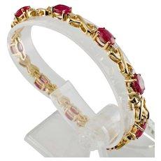 Diamond Ruby Tennis Bracelet 14K Gold Vintage