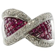 Diamond Ruby Ring 18K White Gold Band Bow Ring