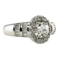 Diamond Ring 14K White Gold Old mine cut 1.63 TDW