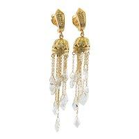 Diamond Earrings Quartz Crystal Dangle Drop 18K Gold