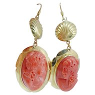 Red Coral Cameo Earrings 18K Gold Dangle Italian
