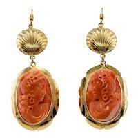 Red Coral Cameo Earrings 18K Gold Dangle Italian